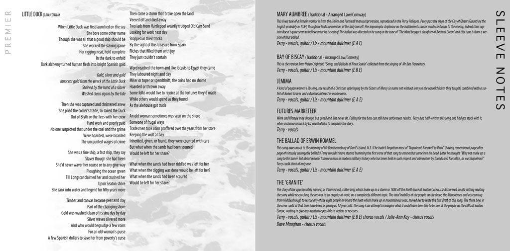 Premier album booklet page