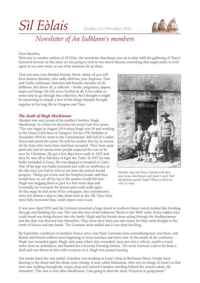 An Iodhlann newsletter cover page