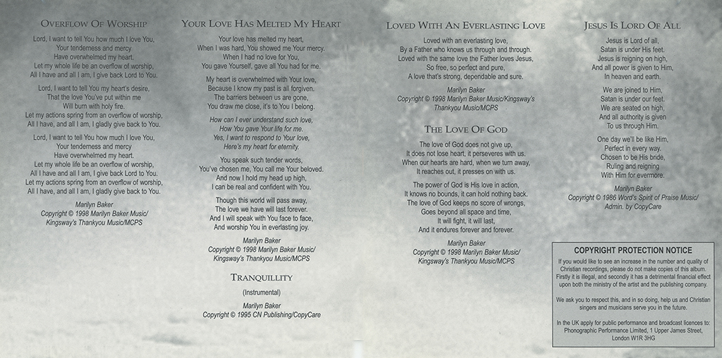 Overflow of Worship Booklet Page